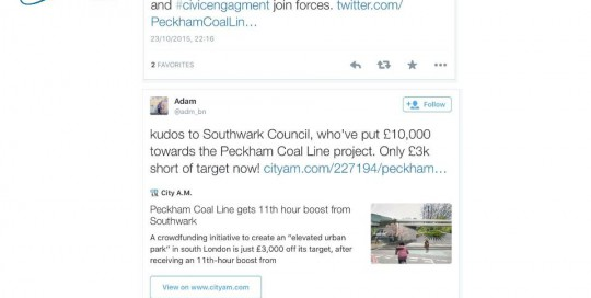 Southwark Council back the Peckham Coal Line
