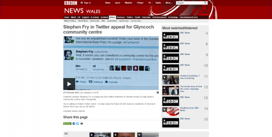 BBC News Stephen Fry in Twitter appeal for Glyncoch community centre