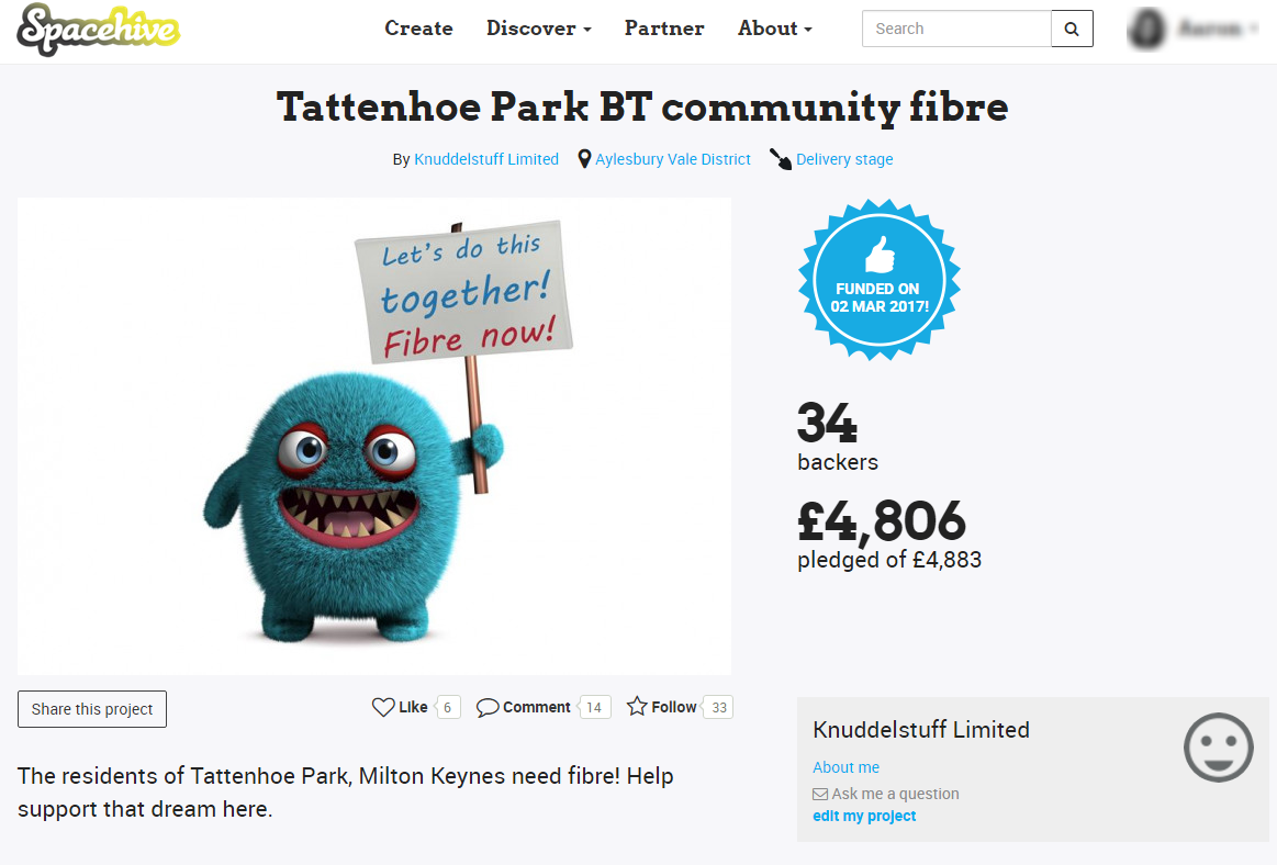 Tattenhoe Park BT community fibre - Project Page
